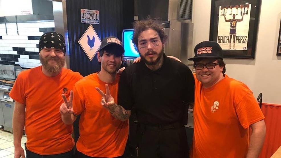 Post Malone spotted at Mr  Charlie's Chicken Fingers in
