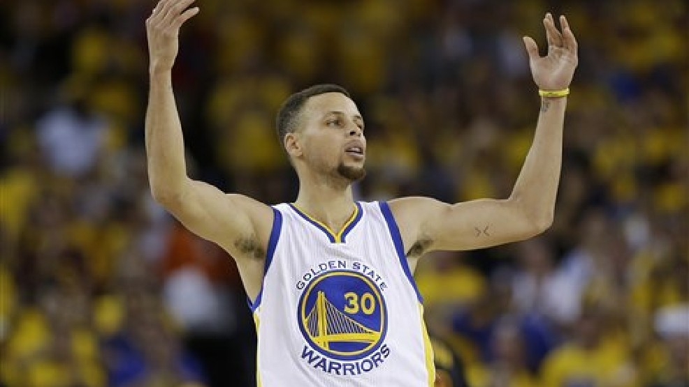 6fe2724dbb8 Golden State Warriors guard Stephen Curry (30) gestures after scoring  against the Cleveland Cavaliers during the second half of Game 7 of  basketball s NBA ...