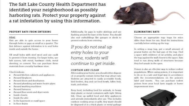 Rats an 'increasing problem' in Salt Lake County, reason