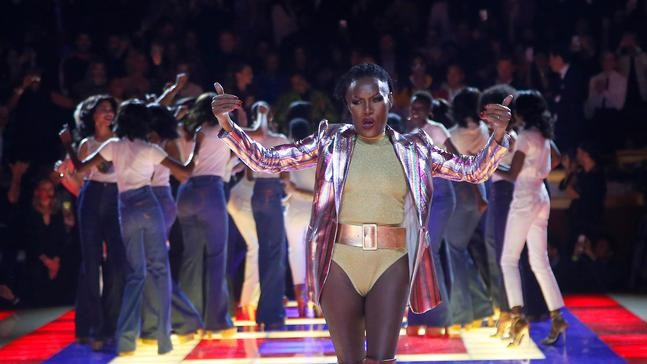 798832737ea Singer Grace Jones wears a creation as part of the Tommy Now ready to wear  Fall-Winter 2019-2020 collection, that was presented in Paris, Saturday,  March 2, ...