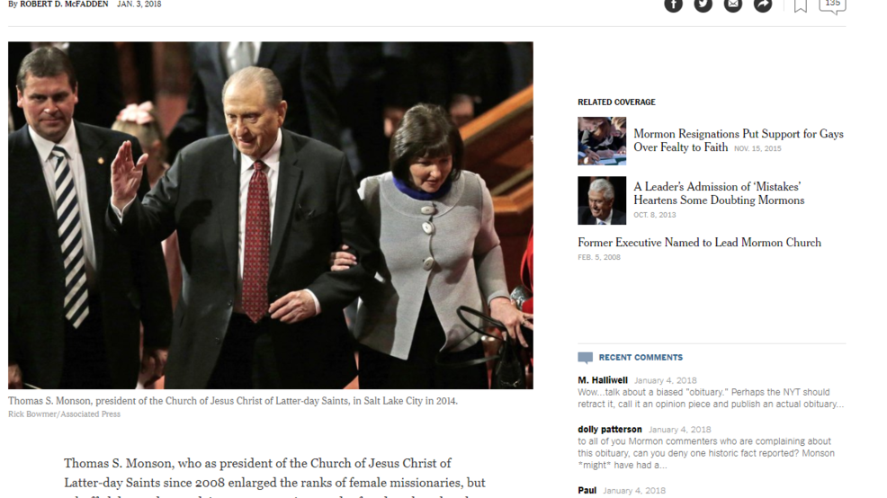 Petition urging NY Times rewrite on Monson obit gains 88,000
